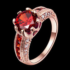 Fashion Wedding Red white zircon Jewelry New yellow gold Rose Gold Plated rings