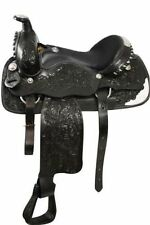 """Circle S Pleasure/Show Saddle FQHB Leather Seat Floral Tooling 16"""" 2 Colors NEW"""