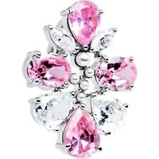 316L Surgical Steel Top Down Cluster Solitare CZ Navel belly Ring  PINK/CLEAR