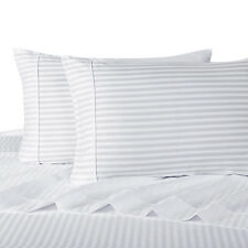 Twin Size Bed Sheet Set-100% Cotton 300 Thread Count Stripe Deep Pockets Sheets