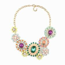 colorful crystal chunky pendant gold chain statement flower necklace for women