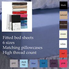 """EXCELLENT QUALITY FITTED BED SHEET 12"""" DEEP 180 TC ALL SIZES PLUS PILLOWCASES"""