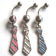 Surgical Steel 1 Pc Multi Paved Gem Cute Tie Dangle Navel Belly Ring 3 COLORS