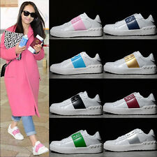 Womens Flat Causal Board Shoes Low Top Lace Up Mixed Color Pumps Sneaker Trainer