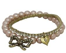 Vintage Style Bow & Heart Diamante and Pearl Bracelet Cream and Pink