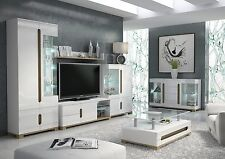Lunar High Gloss White Sideboard TV Unit Tall Display Cabinet Lounge Furniture
