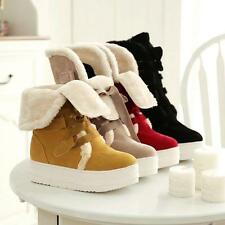 Chic Lace Up Womens Cuffed Fleece New platform Fur Lining Snow Winter Snug Boots