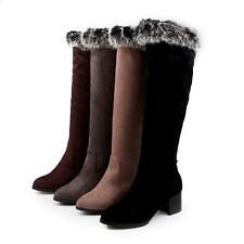 Womens stylish Riding faux suede pointed toe winter cuban heel Knee High Boots