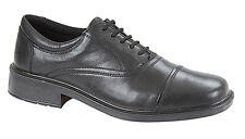 Mens New Black Leather 5 Eye Capped Oxford Fuller Fitting Waterproof Shoes