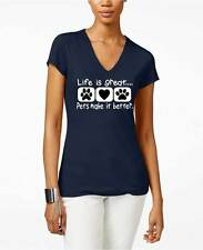Life Is Great With Pets Women V-Neck Navy Tee Shirt