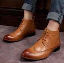 Vintage Men's Brogue Lace Up Ankle Boots Wedge heels Pointed Toe Lined Carving