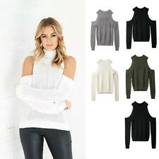 Women's Autumn Winter Long Sleeved Off The Shoulder Knitted Sweater Tops Blouses