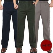 Men's Cargo Military elasticated waist cotton blend Loose Trousers casual Pants