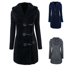 Women Wool Autumn Winter Coat Hooded Horn Button Long Peacoat Cloth Clothing Top