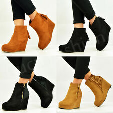 NEW WOMENS LADIES ANKLE BOOTS BACK ZIP FRINGE WEDGE PLATFORM BOOTIES SHOES SIZE