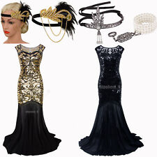 Prom Gown Great Gatsby 1920s Flapper Dress Party Evening Bridesmaid Long Dresses