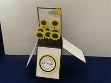 Handmade card Happy Birthday/ Personalised Sunflower design pop up card