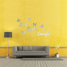 Butterfly Mirror Effect Wall Sticker Acrylic Room  Art Decor Removable Vinyl