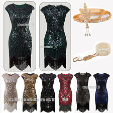 Ladies Charleston 1920s Flapper Dress Gatsby Sequin Bead Cocktail Fancy Clothing