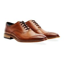 Goodwin Smith Wiswell Tan Men's Leather Oxford Brogues Lace Up Shoes - All Sizes