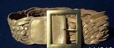 """Cache $128 GOLD METALLIC WOVEN LEATHER BELT Pant NWT S/M/L 2 1/4"""" WIDE~"""
