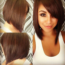 New BOB Head Straight Cosplay Costume Party Short Straight Full Wigs Black/Brown
