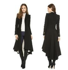 Gothic Womens Black Punk Swallow Tail Long Trench Coat Blazer Suit vintage dress