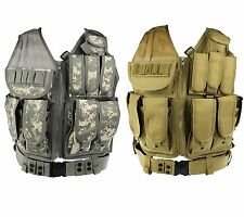 Tactical Military Airsoft Hunting CS MOLLE Mesh Vest Chest w/Pistol Holster Bag