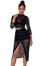 Sheer Crochet Lace Crop Top With Split Button Up Midi Women Club Party Skirt Set