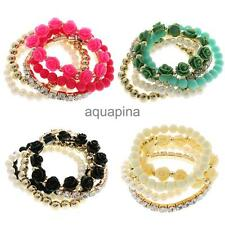 Charm Elastic Women Fashion 5 Pieces Multilayer Beads Bracelet Bangle Jewellery