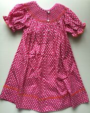 Girls Clothes Pink Polka Dots Pumpkin Smocked Dress Size 3T