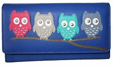 Mala Leather  Owl Pattern Large Flap Over Purse Style Kyoto no 315545 New
