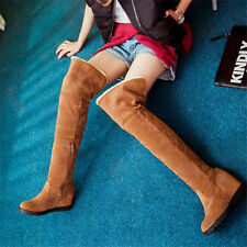 Womens Woolen Fur Over Knee High Boots Round Toe Wedge Winter Long Boots Warm