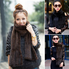 Women UK Real Knitted Mink Fur Scarf Shawl Stole Low Gain Sale Cape Tassels