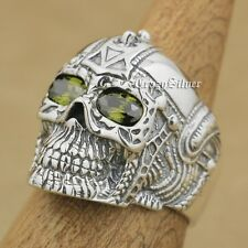 Black Olive Eyes 925 Sterling Silver Gothic Tattoo Skull Mens Biker Ring 9G205A
