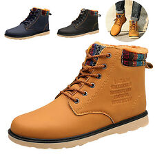 Mens Fashion Winter Casual Lace Up Flat Ankle Boots Combat Martin High-top Shoes