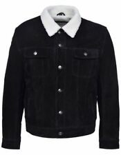 MENS SUEDE Leather LEWIS Jeans Jacket BLACK Borg FAUX ShearLing Lined JACKET