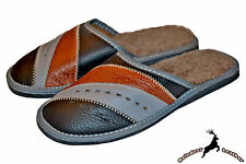 Mens Genuine Leather Warm Indoor Slippers Sandal S Wool Fur Shoes All Size New