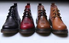 Mens Casual Lace Up Leather rubber sole Chukka Motorcycle Ankle Boots
