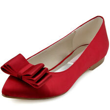 FC1406 Red Satin Closed Toe Ballet Flat Bow Knot Prom Party Dress Shoes UK 2-9