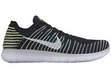 NEW MENS NIKE FREE RN FLYKNIT RUNNING SHOES TRAINERS BLACK / VOLT / BLUE LAGOON
