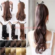 Clip In On Ponytail Hair Extensions Blonde Pony Tail Hairpiece Wave Long Natural