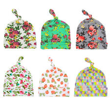 Infant Newborn Swaddle Cotton Baby Beanie Hat Floral Knotted Hat Hospital Cap
