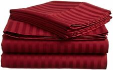 Luxury Egyptian Cotton Bed Sheet Set 6'PCs Set Burgundy Stripe 1000 TC AU Size