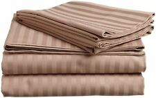 Luxury Egyptian Cotton Bed Sheet Set 6'PCs Set Taupe Stripe1000 TC AU Size