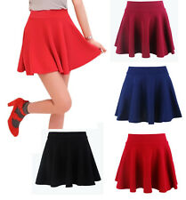 Chic Women Girls Basic A Line Pleated Circle Stretchy Flared Skater Short Skirt