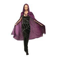 "65"" PURPLE DRACULA VAMPIRE VELVET HOODED CAPE PERFECT FANCY DRESS ACCESSORY"