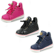 GIRLS BOYS KIDS LACE UP LOW WEDGE HEEL HI TOP PUMPS SHOES TRAINERS BOOTS SIZE 7-