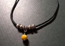 Mens stone necklace, black rope surfer necklace, Natural yellow Tigers eye neckl