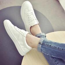 New White Womens Athletic Shoes Lace Up Autumn Flat Skateboard Casual Sneakers